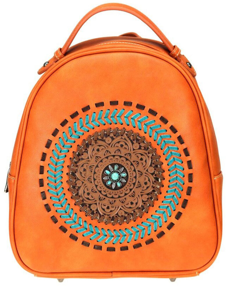 Trinity Ranch Women's Brown Mandala Floral Collection Backpack, Brown, hi-res