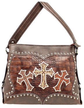 Blazin Roxx Embroidered Crosses Shoulder Bag, Brown, hi-res