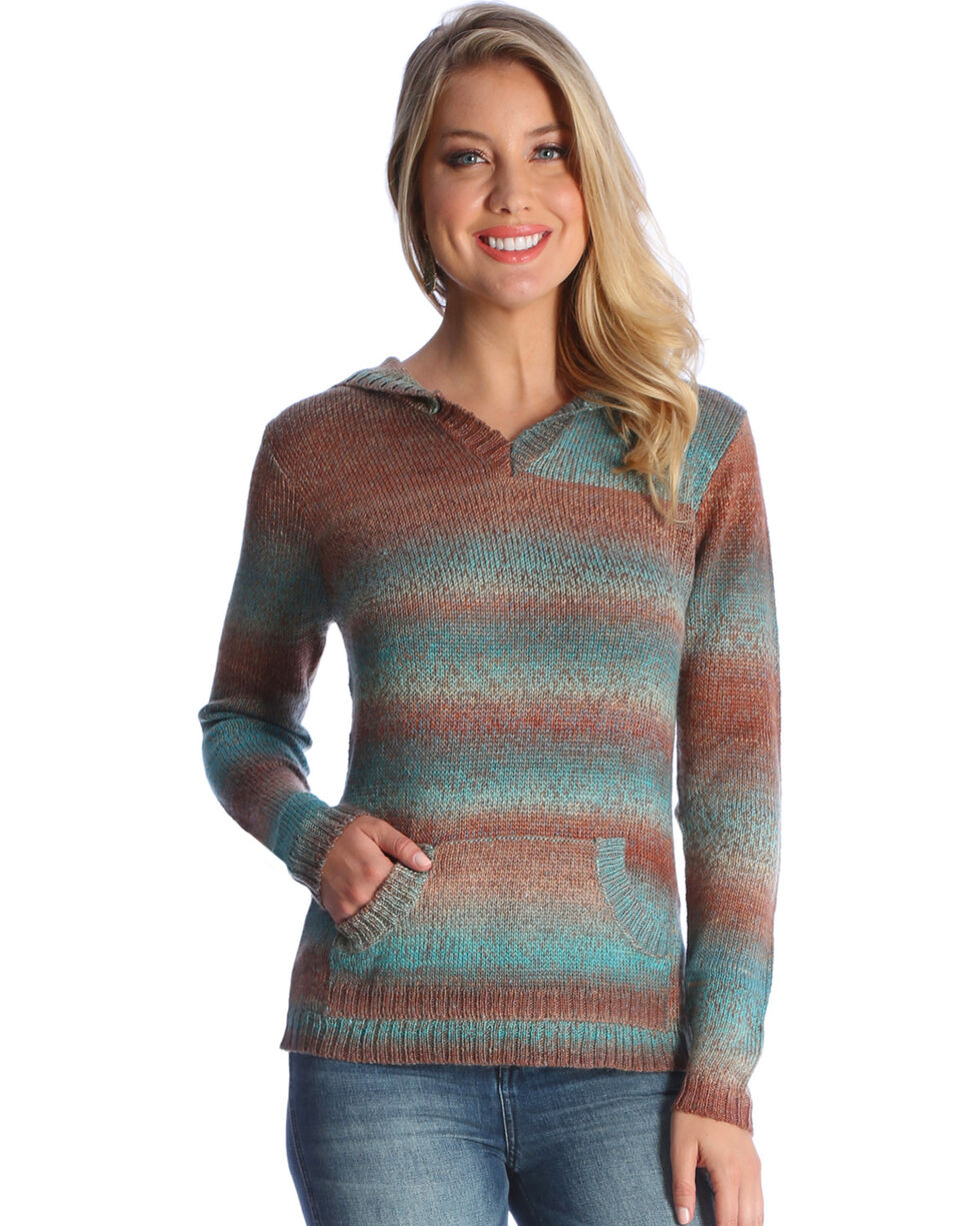 Wrangler Women's Spice Ombre Hooded Sweater , Tan, hi-res