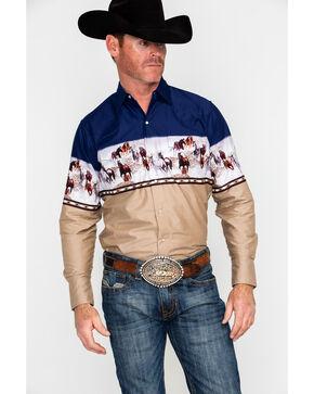 Ely Cattleman Men's Border Print Long Sleeve Western Shirt , Navy, hi-res
