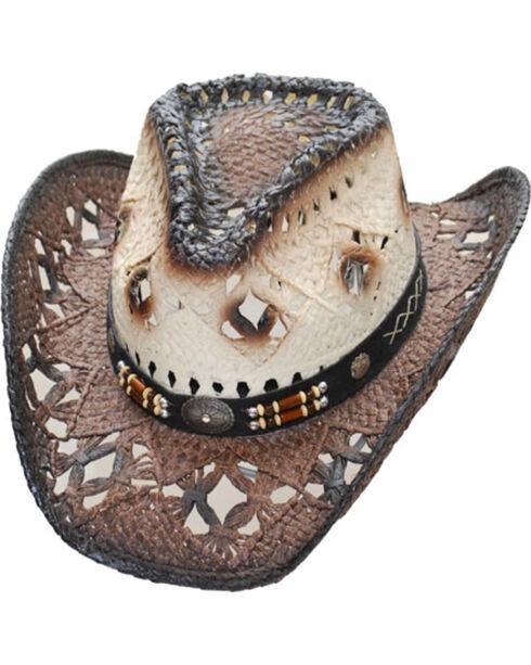 Western Express Women's Brown Pinch Front Straw Hat , Dark Brown, hi-res