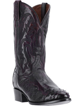 Dan Post Men's Pugh Black Cherry Ostrich Western Boots - Round Toe, Black, hi-res