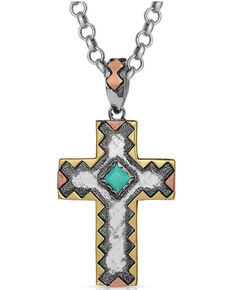 Montana Silversmiths Women's Antiqued Serrated Cross Necklace, Silver, hi-res
