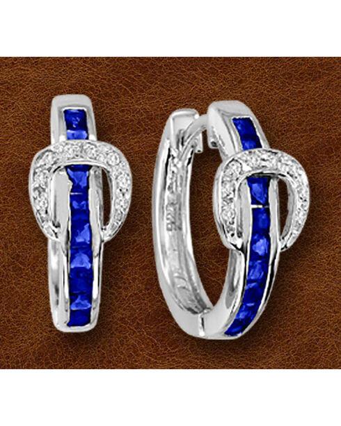 Kelly Herd Sterling Silver Blue Rhinestone Buckle Earrings, Silver, hi-res