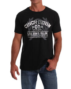 Cinch Men's Black Denim Co. Logo Graphic T-Shirt , Black, hi-res