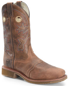 Double H Men's Ice Roper Western Work Boots - Composite Toe, Brown, hi-res