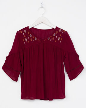 Miss Me Girls' Embroidered Short Sleeve Top, Wine, hi-res