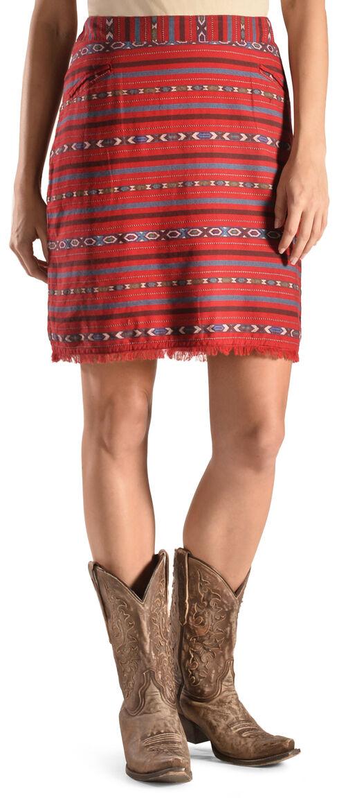 Ryan Michael Women's Cherry Navajo Blanket Skirt , Black Cherry, hi-res