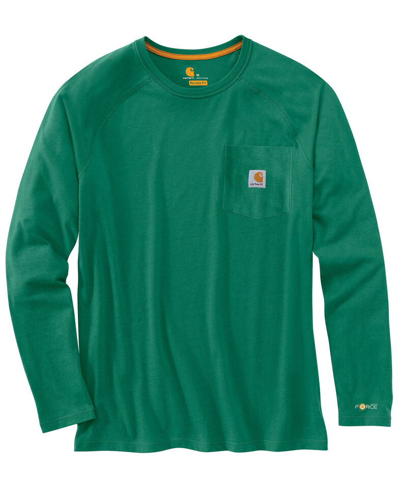 Carhartt Men's Solid Force Long Sleeve Work Shirt - Big & Tall, Green, hi-res