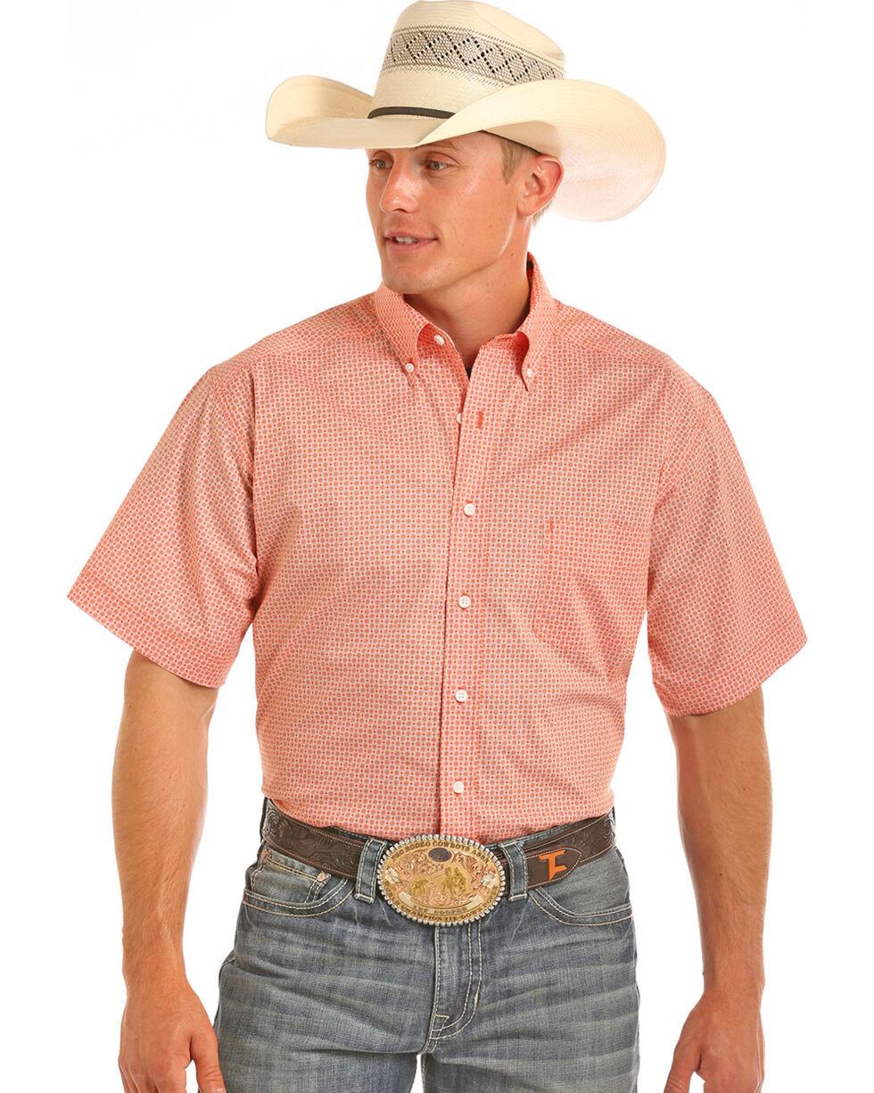 Tuf Cooper Men's Competition Fit Short Sleeve Button Down Shirt, Orange, hi-res