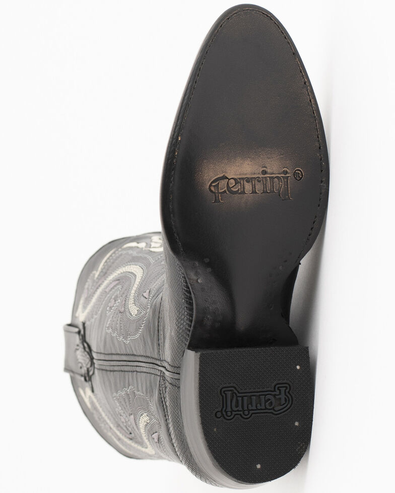 Ferrini Men's Black Teju Lizard Cowboy Boots - Medium Toe, Black, hi-res