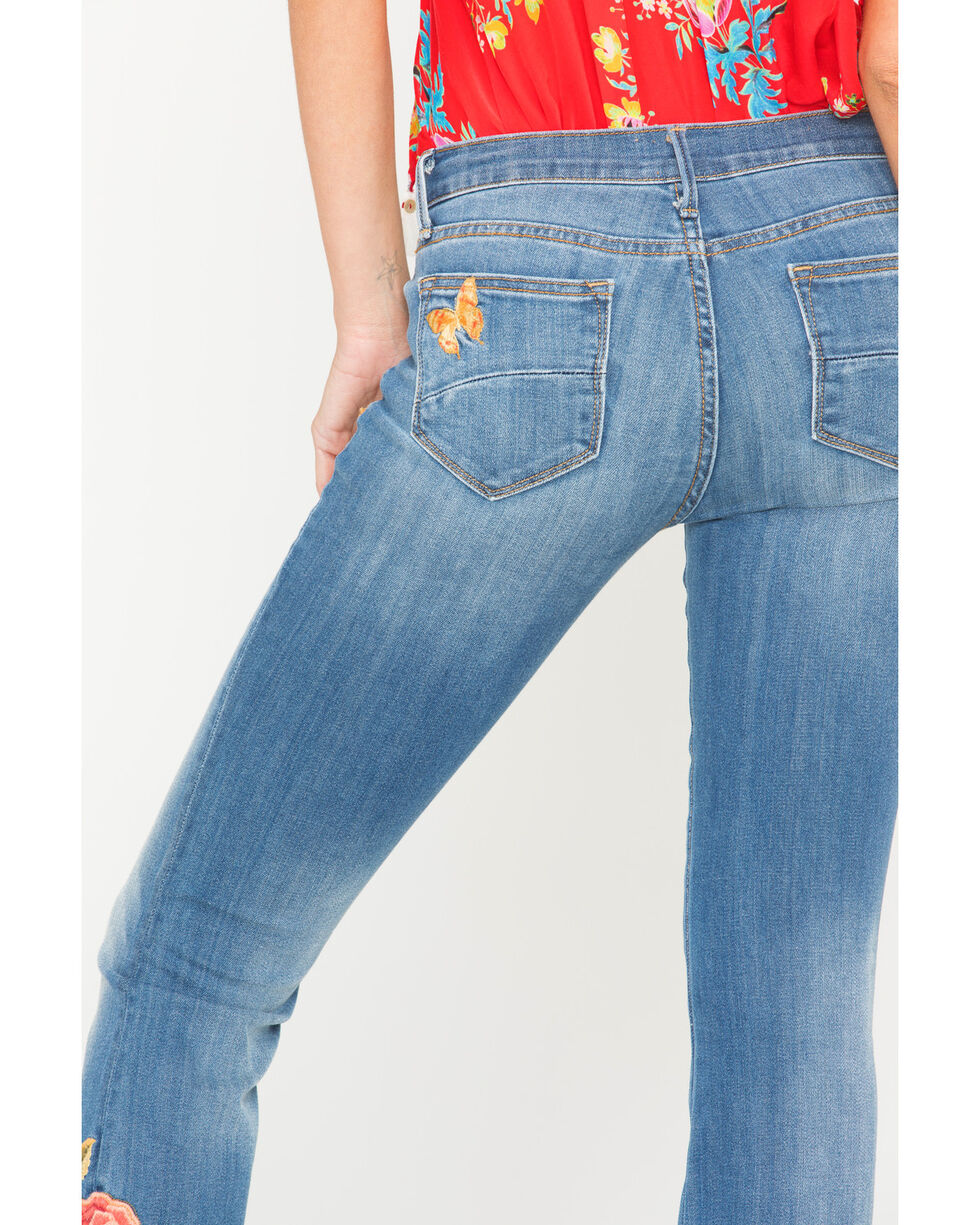 Driftwood Women's Isabel Butterfly Flare Leg Jeans , Blue, hi-res