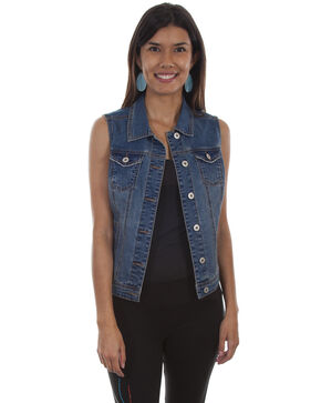 Honey Creek by Scully Women's Denim Lace Back Vest, Blue, hi-res