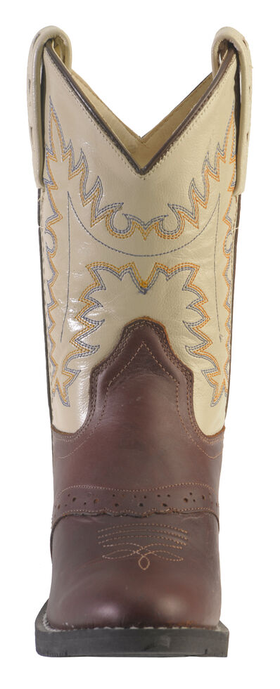 Old West Youth Boys' Saddle Vamp Cowboy Boots - Round Toe, Oiled Rust, hi-res