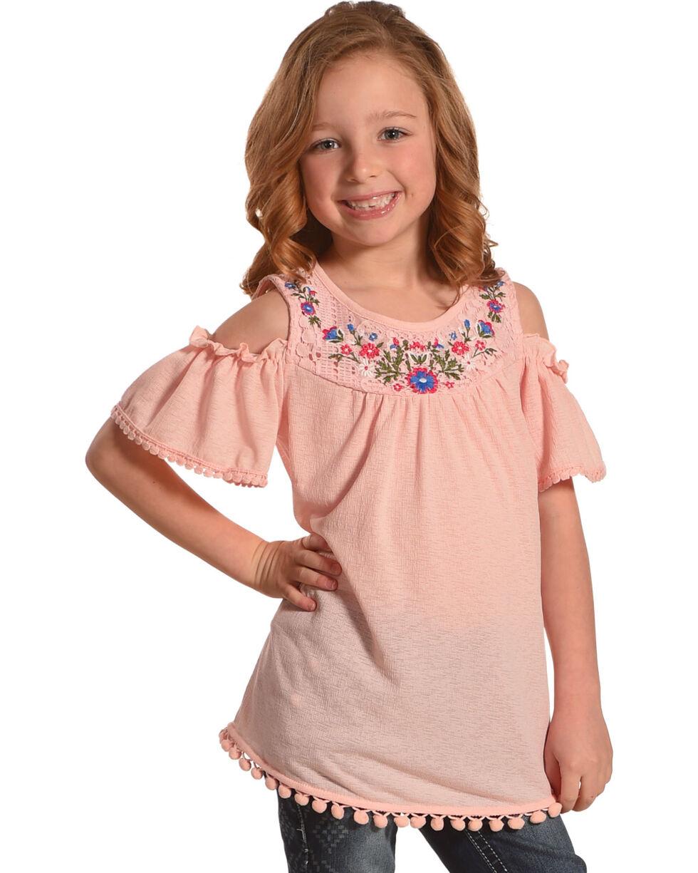 Speechless Girls' Pink Floral Embroidered Cold Shoulder Top , Pink, hi-res