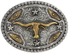 Cody James Men's Oval Longhorn Belt Buckle, Silver, hi-res