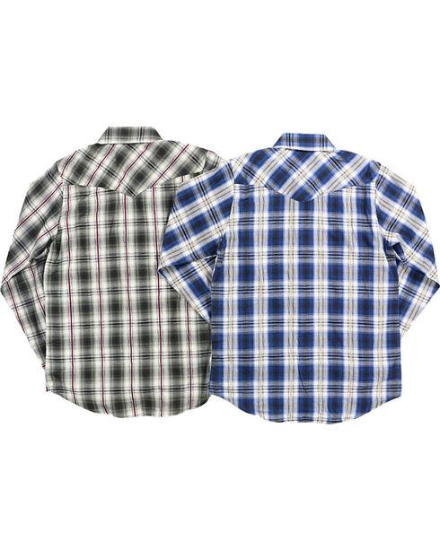 Ely Cattleman Boys' Assorted Plaid Textured Long Sleeve Shirt, Multi, hi-res