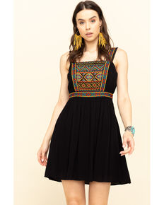 Shyanne Women's Black Embroidered Dress, Black, hi-res
