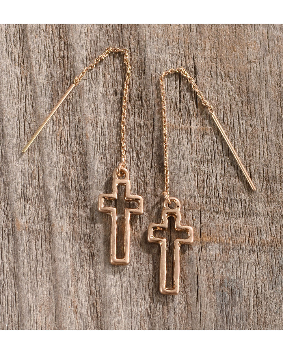 Shyanne Women's Gold Cross Thread-Through Earrings, Gold, hi-res