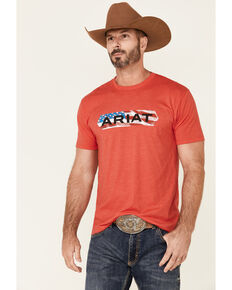 Ariat Men's Heather Red Flag Tone Graphic Short Sleeve T-Shirt , Red, hi-res