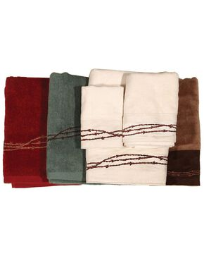 HiEnd Accents Three-Piece Embroidered Barbed Wire Bath Towel Set - Brown, Brown, hi-res