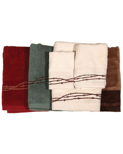 Three-Piece Embroidered Barbed Wire Bath Towel Set - Brown, Brown, hi-res