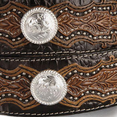 Tony Lama Caiman Print Concho Western Belt - Reg & Big, Black, hi-res