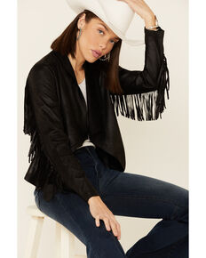 Shyanne Women's Black Faux Suede Fringe Jacket , Black, hi-res