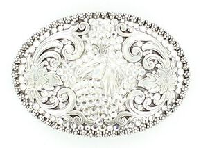 Fancy Rhinestone & Horse Head Buckle, Silver, hi-res