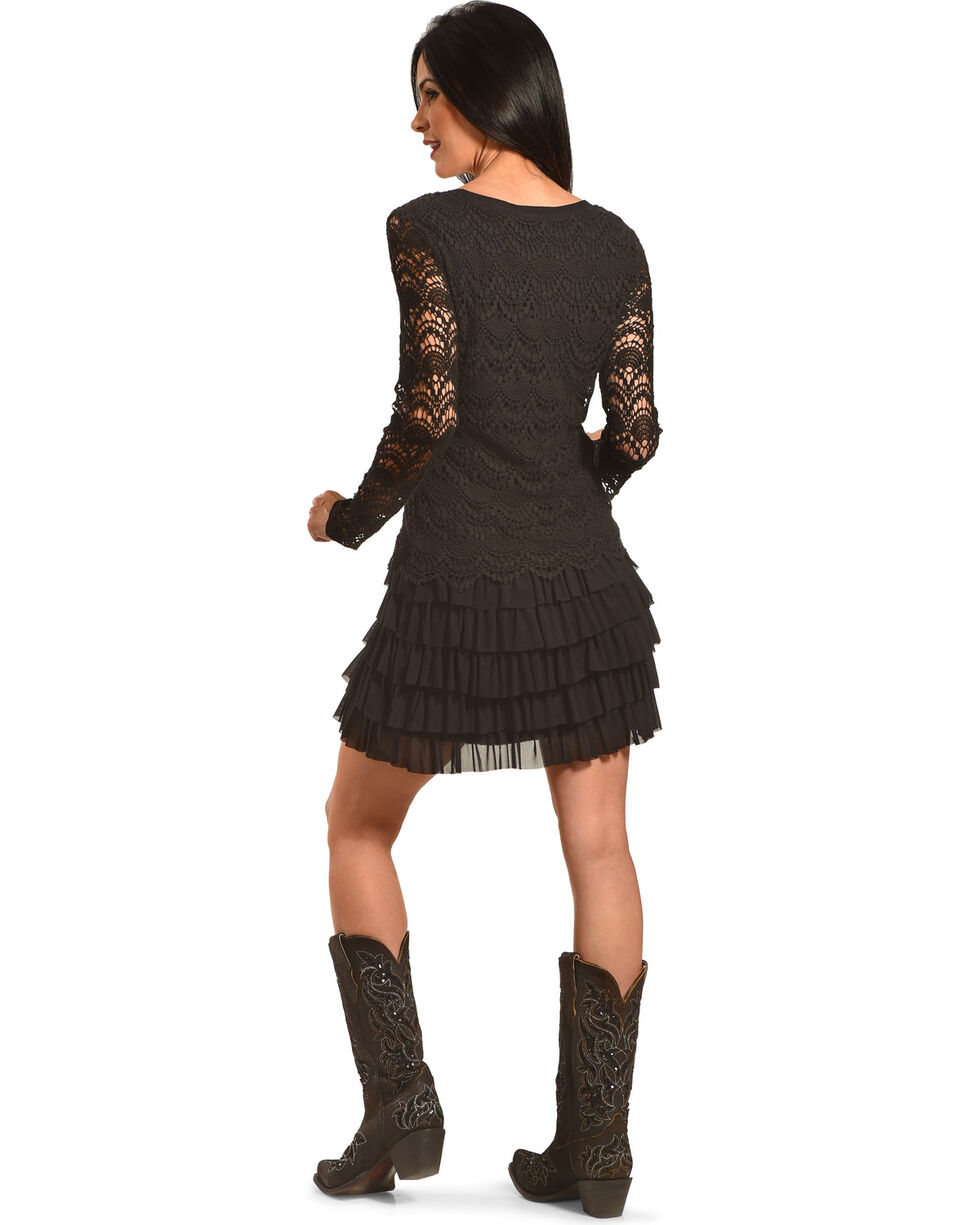 Young Essence Women's Lace Dress with Ruffle Detail, Black, hi-res