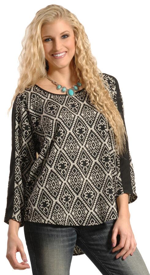 Tantrums Women's Aztec Hi-Low Popover Blouse, Blk/white, hi-res