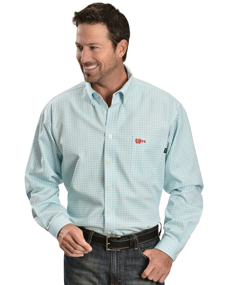 Cinch  Flame Resistant Plaid Work Shirt, Turquoise, hi-res