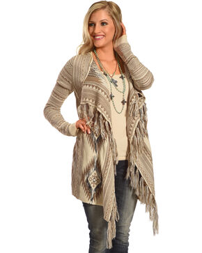 Shyanne Women's Aztec Fringe Trim Sweater, Tan, hi-res