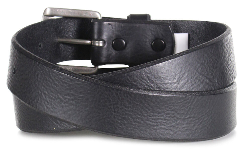 American Worker Men's Black Distressed Leather Belt, Black, hi-res