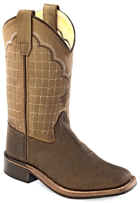 Old West Youth Boys' Brown and White Cowboy Boots - Square Toe , Chocolate, hi-res