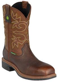 John Deere Men's Waterproof Western Work Boots - Composite Toe, Brown, hi-res