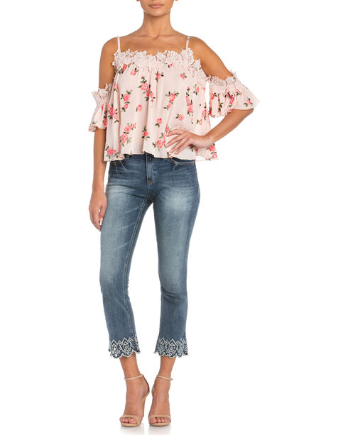Miss Me Floral Print Cold Shoulder Top with Lace Trim, Pink, hi-res