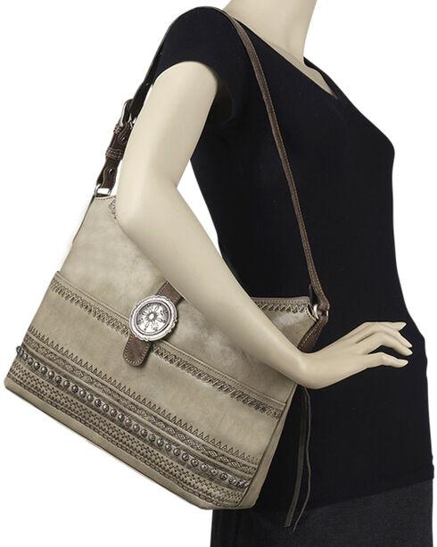 American West Women's Trading Post Large Zip Top Shoulder Bag, Sand, hi-res