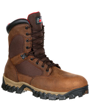 "Rocky Men's Alphaforce Insulated Waterproof 8"" Work Boots - Safety Toe, Brown, hi-res"