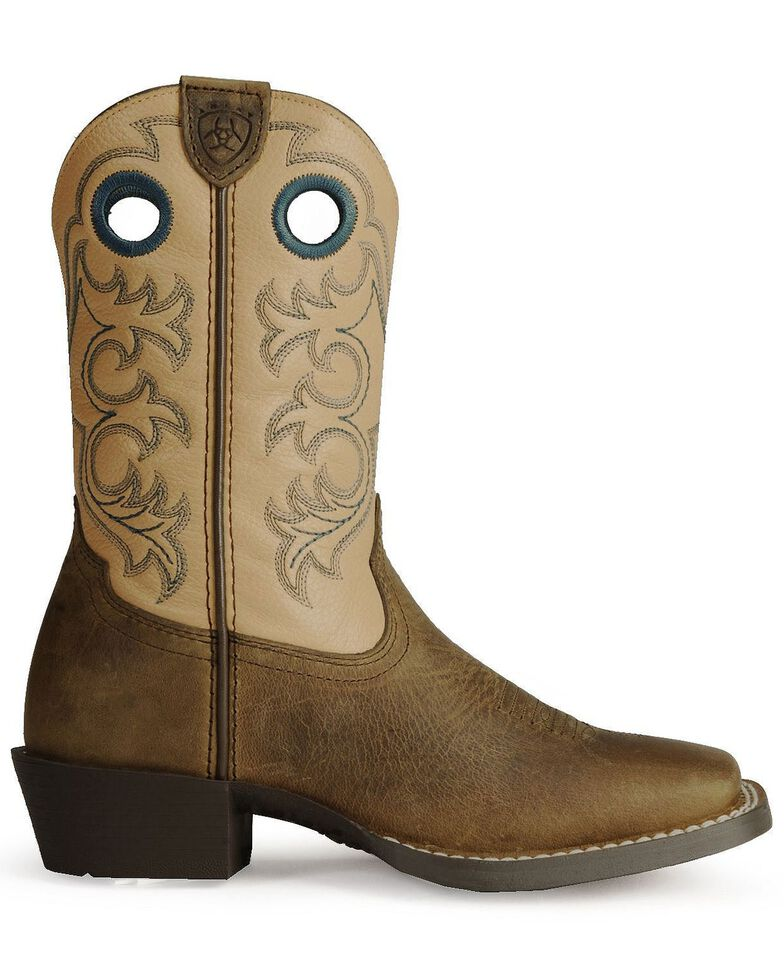 Ariat Boys' Crossfire Cowboy Boots - Square Toe, Distressed, hi-res
