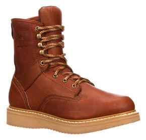 "Georgia Men's 8"" Barracuda Gold Wedge Work Boots - Round Toe, Brown, hi-res"