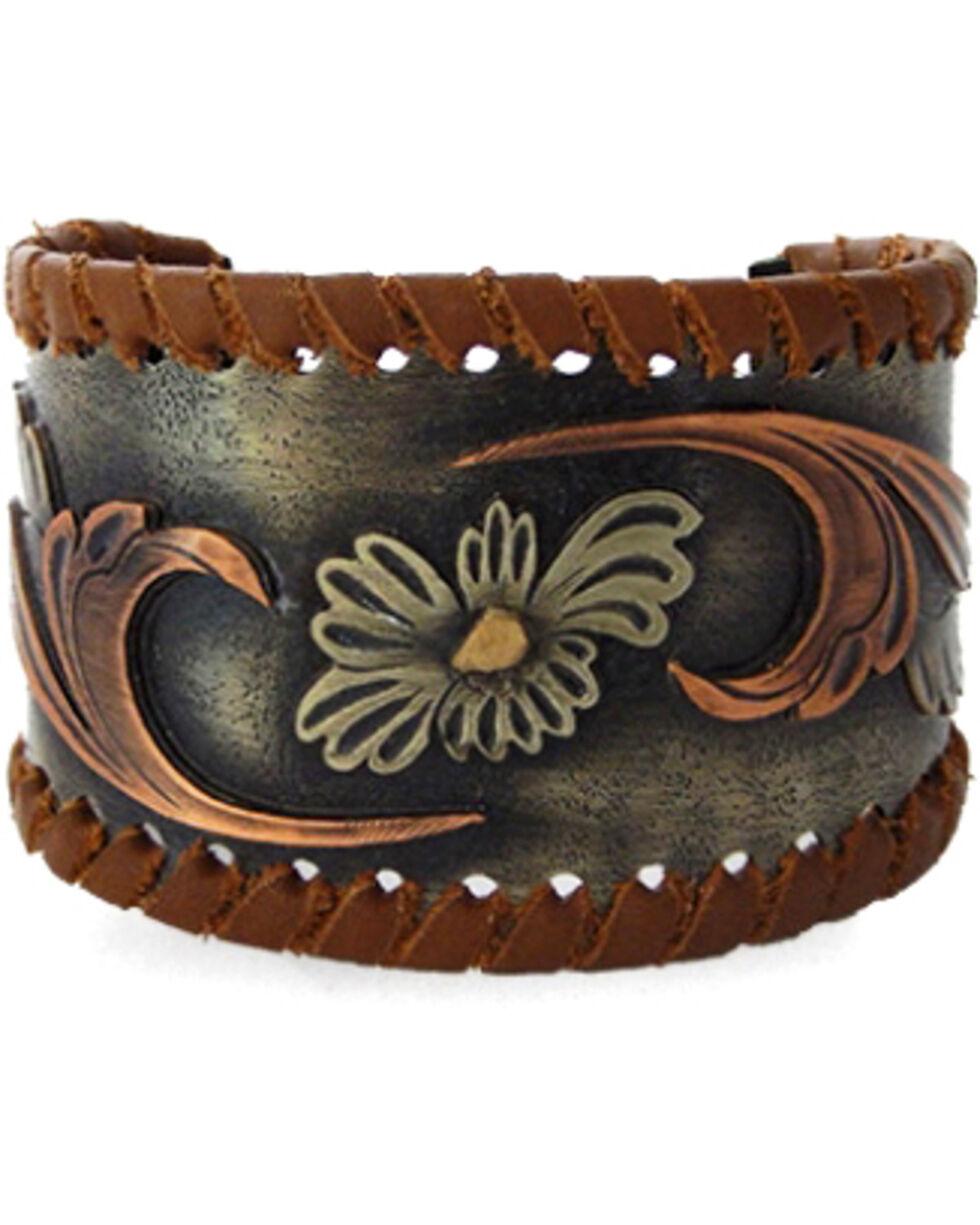 Augus Silversmiths Women's Brown Leather Wrap Cuff Bracelet, Brown, hi-res