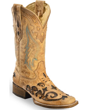 Corral Women's Sand Snake Inlay Boots - Square Toe , Sand, hi-res