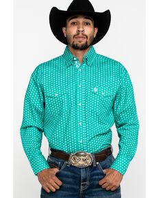 George Strait By Wrangler Emerald Geo Print Long Sleeve Western Shirt , Green, hi-res