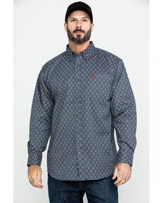 Ariat Men's FR Overtime Print Long Sleeve Work Shirt - Tall , Blue, hi-res