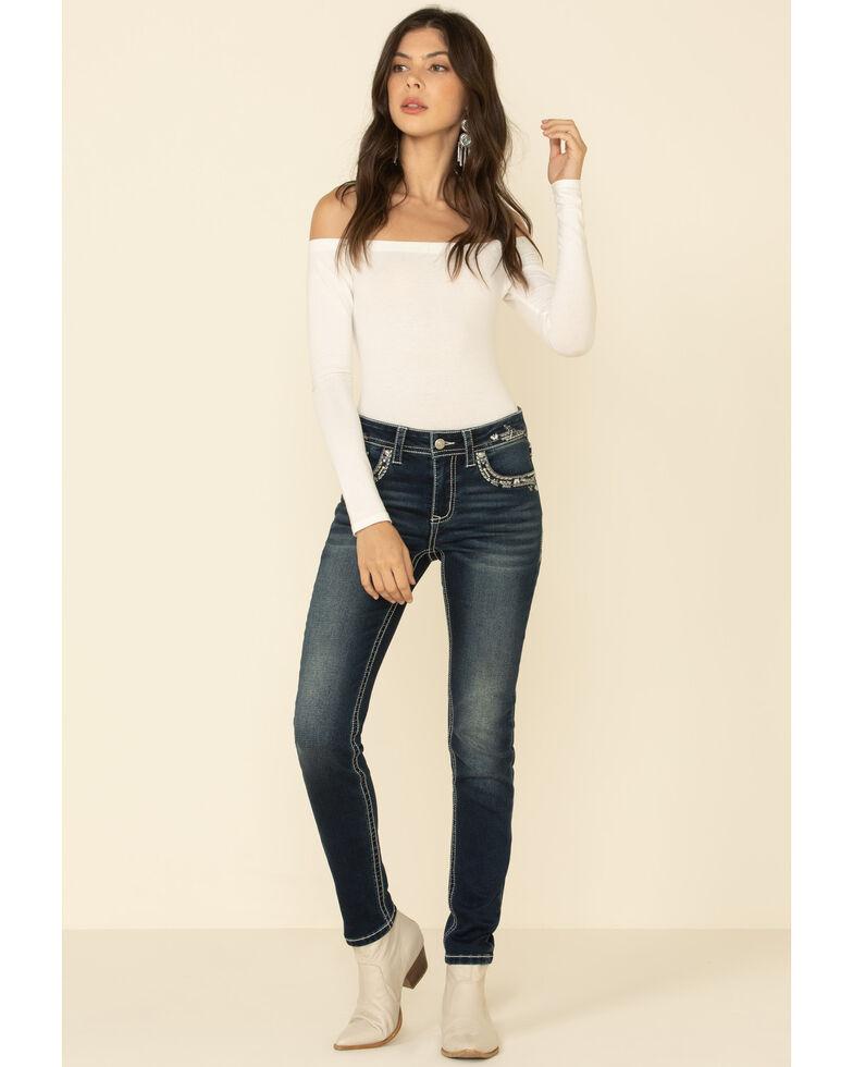 Grace in LA Women's Border Flap Bootcut Jeans, Blue, hi-res