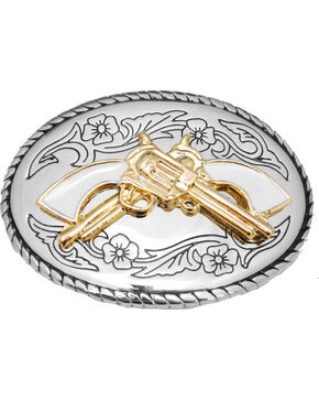 Western Express Women's Silver White Handles Belt Buckle , Silver, hi-res