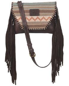 Ariat Women's Aztec Fringe Crossbody, Brown, hi-res