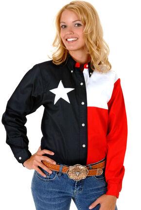 Roper Women's Texas Flag Button-Down Shirt, Navy, hi-res