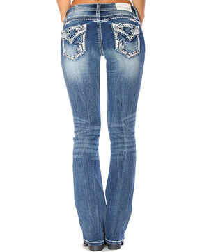 Grace in LA Women's Blue Embroidered Pocket Boot Cut Jeans - Plus , Blue, hi-res